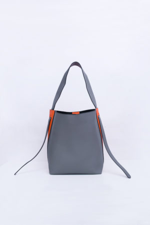ORANGE & GREY COLOR BLOCK SLOUCH HANDBAG