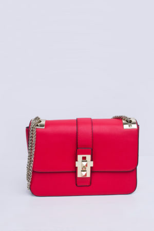 RED & WHITE SPIKE STUD SATCHEL HANDBAG