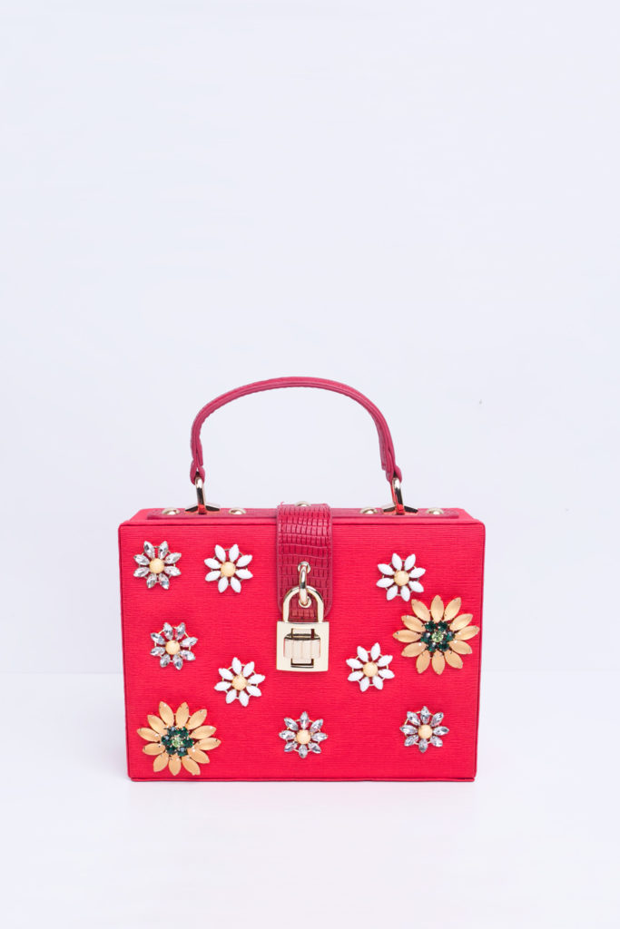 RED EMBELLISHED CASE CLUTCH