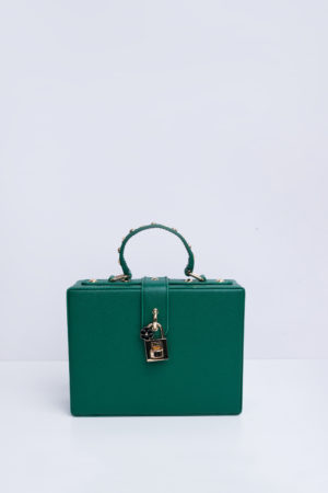 GREEN LEATHER CASE CLUTCH