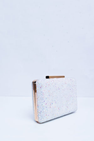 LUMINOUS WHITE RHINE STONE MINI CASE CLUTCH