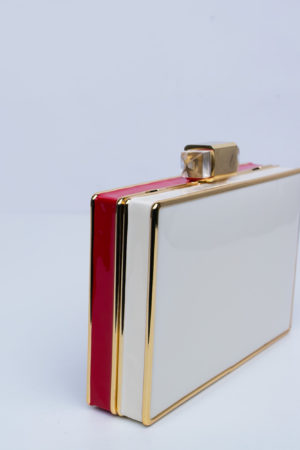 RED, IVORY AND BLACK CASE CLUTCH