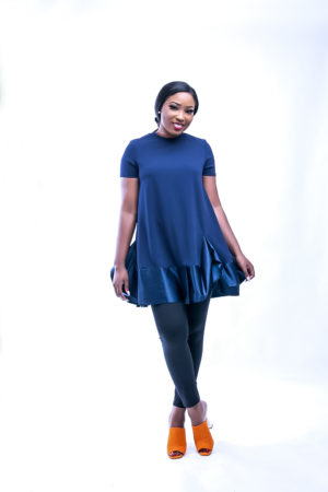 NAVY RUFFLE T SHIRT DRESS