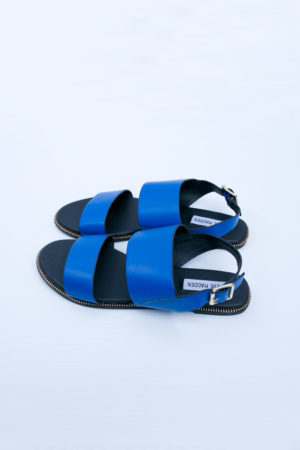 COBALT DOUBLE STRAP FLAT SANDALS
