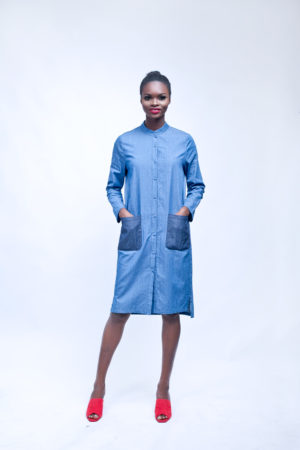 WAGCHIC BISHOP DENIM SHIRT DRESS