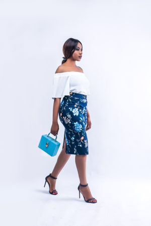 NAVY FLORAL PRINT SPLIT PENCIL SKIRT