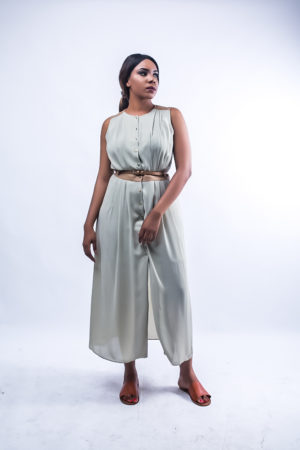 KOTON KHAKI AND RUST MAXI DRESS