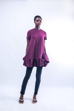 BERRY RUFFLE T SHIRT DRESS