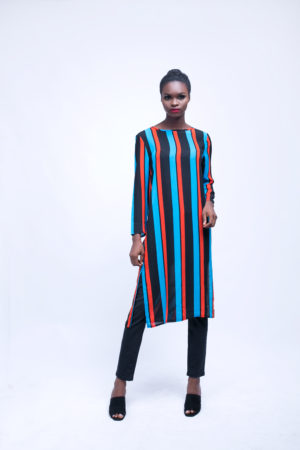 WAGCHIC BLUE & ORANGE STRIPED CAFTAN TUNIC