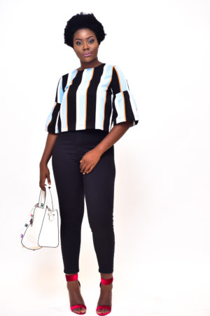 WAGCHIC PALE BLUE STRIPE TRUMPET TOP