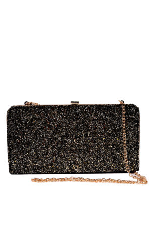 BLACK GLITTER BOX CLUTCH