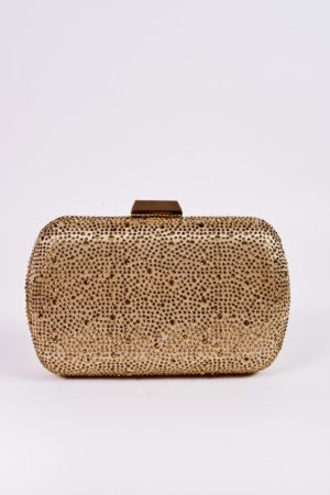 RHINESTONE MENI CASE CLUTCH – GOLD