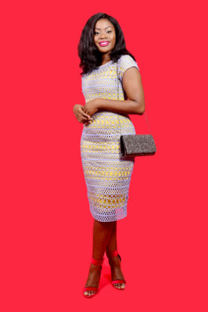 MUSTARD AND GREY CROCHET INSERT DRESS