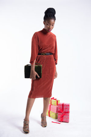 PLEATED PONCHO SLEEVE DRESS