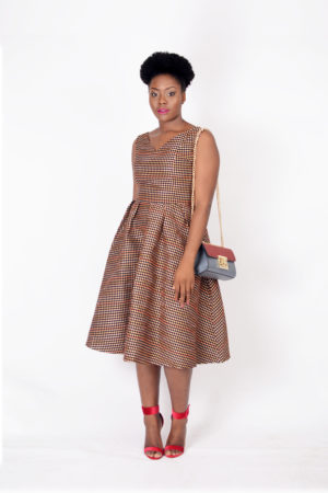 WAGCHIC ORANGE JACQUARD SKATER DRESS