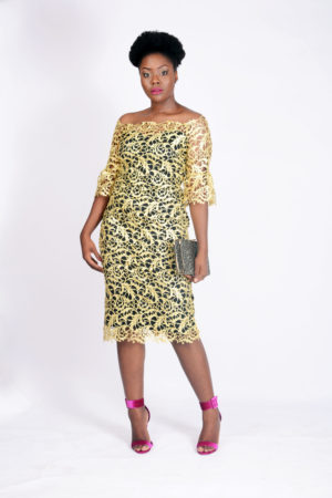 WAGCHIC GUIPURE TRUMPET SLEEVES DRESS