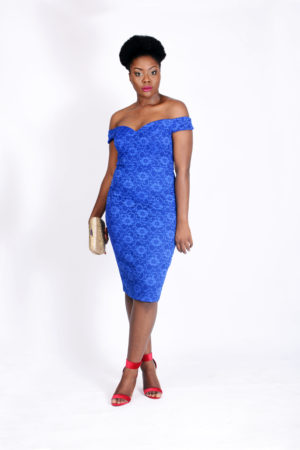 BLUE LACE BARDOT DRESS