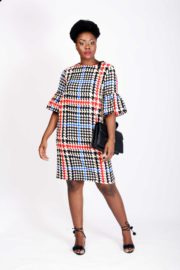 WAGCHIC BLUE HOUNDSTOOTH TRUMPET SLEEVES TUNIC