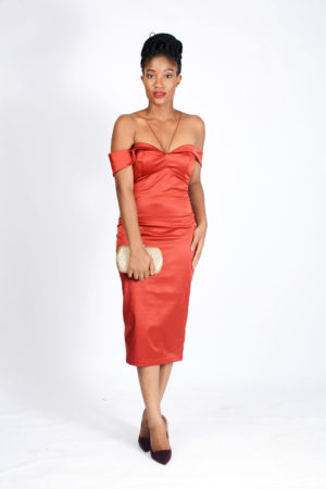 RUST SATIN BARDOT DRESS