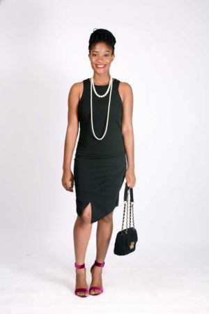 KOTON BLACK C BACK ASYMMETRIC DRESS