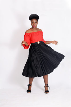 WAGCHIC BLACK PLEATED SKATER SKIRT