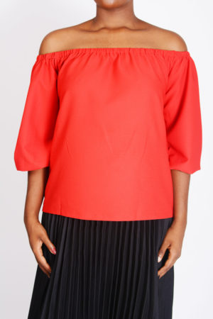 WAGCHIC RED BUBBLE SLEEVES BARDOT