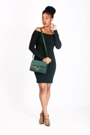 BLACK OFF SHOULDER BODYCON DRESS