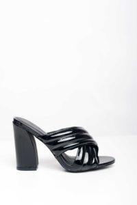 CROSS STRAP MULES – BLACK