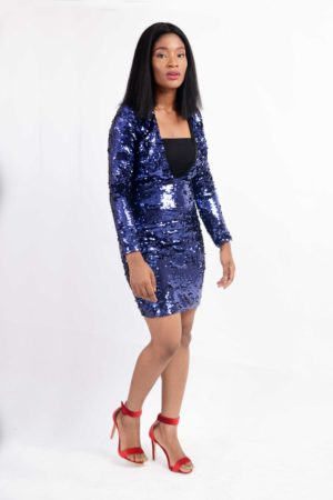 VIOLET SEQUIN PLUNGE MINI DRESS
