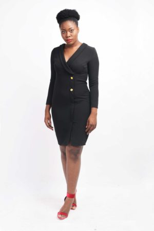 BLACK DRESS WITH GOLD BUTTON DETAIL
