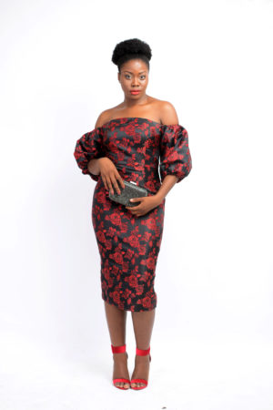 WAGCHIC RED & BLACK BUBBLE SLEEVES BARDOT DRESS