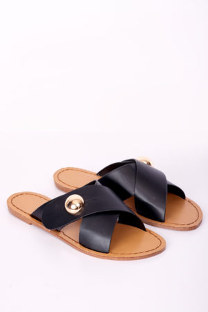 CROSS STUDDED SLIPPERS - BLACK