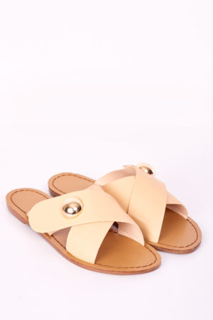 CROSS STUDDED SLIPPERS - NUDE