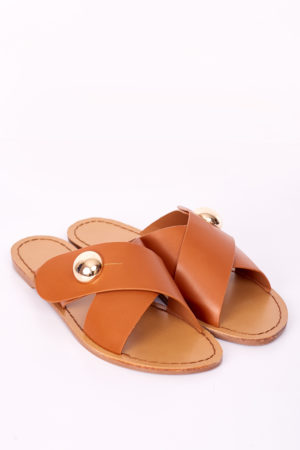 CROSS STUDDED SLIPPERS - CAMEL