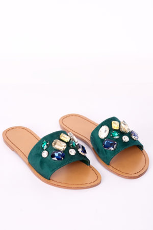 BAND EMBELLISHED SLIPPERS - GREEN debras grace