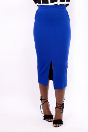 WAGCHIC BLUE FRONT SPLIT MIDI SKIRT