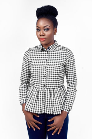GINGHAM PEPLUM DETAIL SHIRT