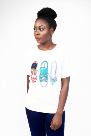 SEQUIN SHOE PRINTED TSHIRT - WHITE