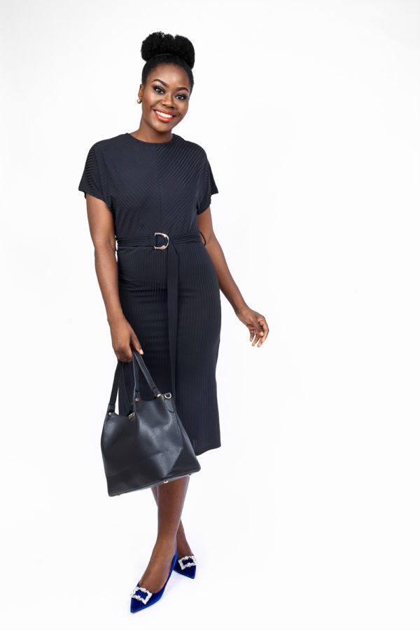 BLACK JERESEY D-RING BELTED DRESS
