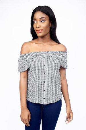 GINGHAM BUTTON BARDOT TOP