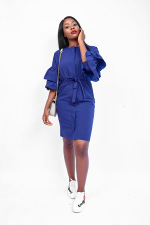 WAGCHIC TRUMPET SLEEVE FRONT ZIPPER DRESS - NAVY