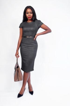 WAGCHIC CAPSLEEVE PENCIL DRESS - DARK GREY