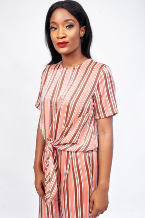 KOTON RUST STRIPE LUMINOUS TIE FRONT TOP
