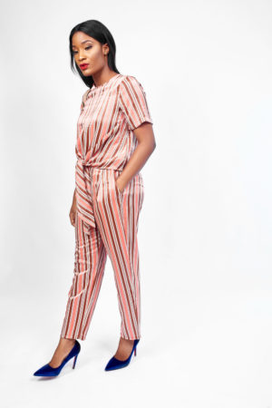 KOTON RUST STRIPE LUMINOUS CROP PANT