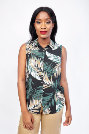 KOTON BLACK PALM PRINT SLEEVELESS SHIRT