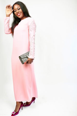 CAFTAN MAXI WITH GOLD BALL EMBELLISHMENT - PINK