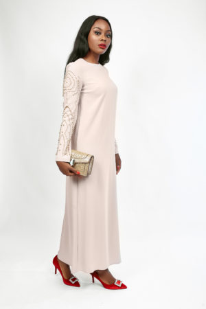 CAFTAN MAXI WITH GOLD BALL EMBELLISHMENT - NUDE