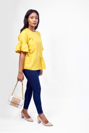 KOTON MUSTARD COTTON HALF RUFFLE TOP ROUND NECK SHORT SLEEVE RUFFLE SLEEVE HALF RUFFLE HEM KEYHOLE BUTTON