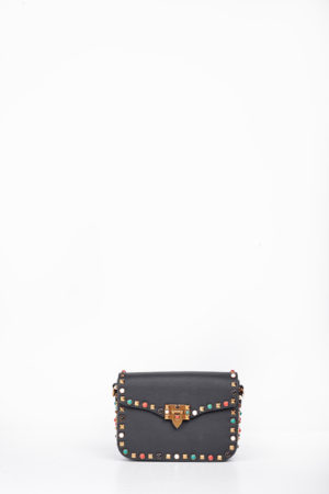 COLORED STUDDED EDGE CLIP BAG - BLACK
