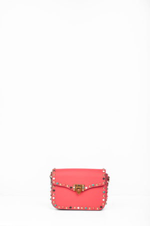 COLORED STUDDED EDGE CLIP BAG - RED